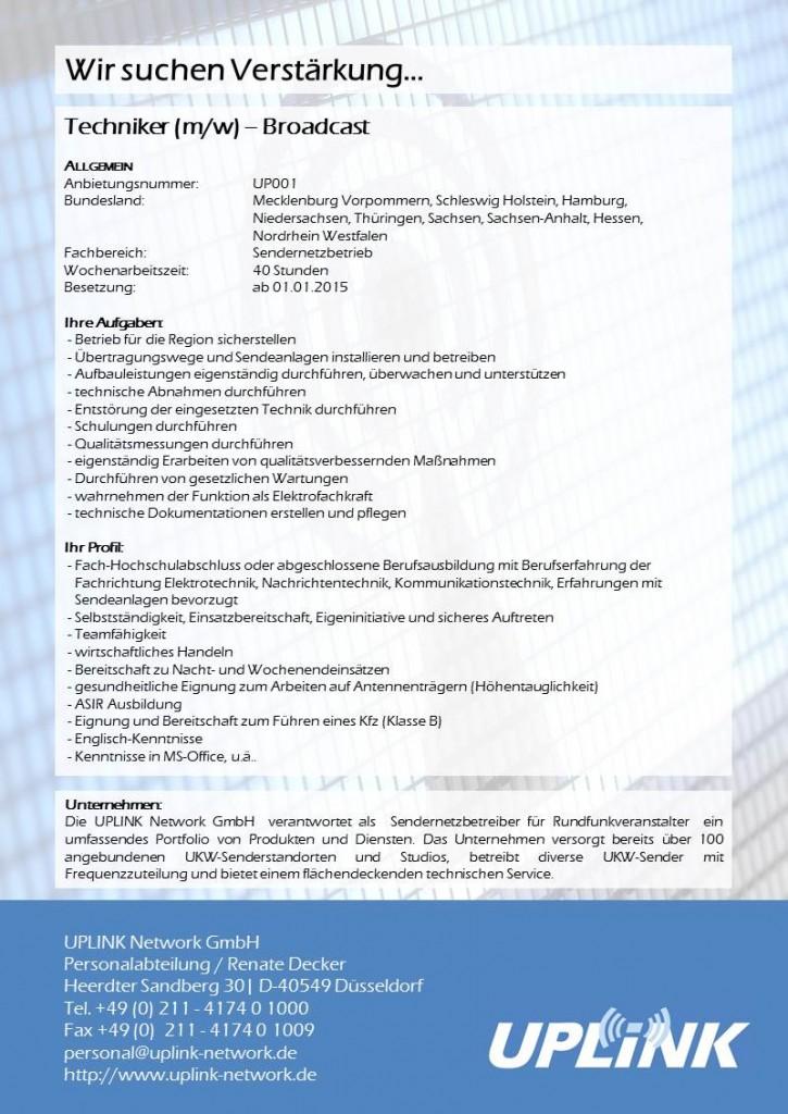 UPLINK Stellenausschreibung - Techniker Broadcast 15122014
